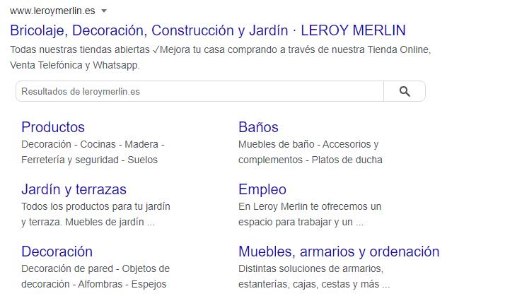 Ejemplo de vínculos a sitios de la guía para mejorar el CTR y posicionamiento web orgánico en Google